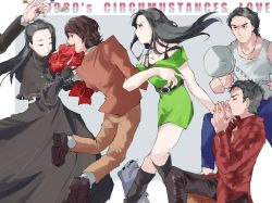 2girls, 4boys, arm up, asou yuri, bags under eyes, bare shoulders, belt, black bra, black capelet, black dress, black eyes, black footwear, black gloves, black hair, black pants, blue pants, boots, border, bouquet, bra, bra strap, braid, brown footwear, brown hair, brown jacket, brown pants, capelet, chikichi, closed mouth, coin, collarbone, dress, earrings, english text, engrish text, eyes closed, fingerless gloves, flower, frilled capelet, frills, from behind, from side, glint, gloves, green dress, grey background, grey shirt, half-closed eyes, hand holding, hand up, hands together, hands up, happy, highres, holding, holding bouquet, itoya ryou, jacket, japanese text, jewelry, jiro (kamen rider kiva), jumping, kamen rider, king (kamen rider kiva), knee boots, knees together feet apart, kurenai otoya, locked arms, long hair, long sleeves, matching hair/eyes, maya (kamen rider kiva), megaphone, multiple boys, multiple girls, necklace, off shoulder, one knee, open clothes, open jacket, open mouth, outside border, pants, profile, ranguage, red eyes, red flower, red jacket, red rose, riki (kamen rider kiva), rose, shirt, shoes, short dress, short hair, short sleeves, simple background, sleeveless, sleeveless shirt, smile, socks, standing, sweat, tank top, tied hair, translated, typo, underwear, v-shaped eyebrows, white border, white legwear