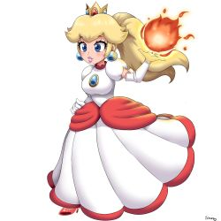1girl, absurdres, alternate costume, alternate hairstyle, artist name, bangs, blonde hair, blue eyes, breasts, brooch, clenched hand, crown, dress, earrings, elbow gloves, eyebrows visible through hair, eyelashes, fire, fireball, full body, gloves, high heels, highres, jewelry, leg up, lips, long hair, mario (series), medium breasts, nintendo, open hand, parted lips, pink footwear, pink lips, ponytail, princess peach, puffy short sleeves, puffy sleeves, red dress, short sleeves, simmsyfart, simple background, smile, solo, super mario 3d world, taut clothes, taut dress, thick lips, white background, white dress, white gloves