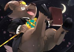 1boy, ^ ^, animal ears, book, closed eyes, creature, crescent moon, eyes closed, fang, floating, formal, furry, goat boy, goat ears, goat horns, goat tail, holding, holding book, horns, male focus, moon, no pants, open mouth, salomon (tokyo after school summoners), shiiiiiiiro, smile, solo, suit, tokyo houkago summoners