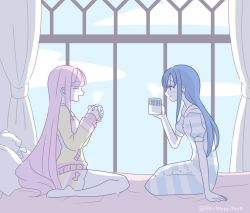 2girls, aqua ribbon, arm support, bangs, bare legs, barefoot, bed, bed sheet, bedroom, blue hair, blue sky, blunt bangs, breasts, buttons, closed mouth, cloud, cloudy sky, cup, curtains, day, dress, eyebrows visible through hair, eyes closed, facing another, from side, hair down, hand up, hands up, happy, holding, holding cup, indoors, laughing, light blush, light smile, long hair, looking at another, magia record: mahou shoujo madoka magica gaiden, mahou shoujo madoka magica, moon print, mug, multiple girls, nanami yachiyo, neck ribbon, on bed, open mouth, pillow, pink hair, pink ribbon, pokki (sue eus), profile, ribbon, shorts, sideboob, sidelighting, sitting, sky, sleeves past wrists, small breasts, star (symbol), star print, steam, striped, striped dress, striped shorts, striped sweater, stuffed animal, stuffed toy, sunlight, sweater, tamaki iroha, teddy bear, twitter username, very long hair, wariza, window