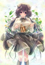 1girl, animal ears, bangs, beige shirt, beret, black legwear, black ribbon, blush, bow, breasts, brown hair, closed mouth, collared shirt, dog ears, droplet, eyebrows visible through hair, feet out of frame, flower, frilled skirt, frills, hair between eyes, hair bow, hair ornament, hat, highres, holding, holding watering can, kanohara wakaba, kneehighs, large breasts, long hair, long sleeves, looking at viewer, original, purple eyes, ribbon, shirt, signature, skirt, smile, solo, unohana pochiko, water drop, watering can, wind, wind lift, yellow headwear