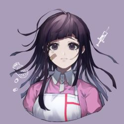 1girl, apron, bandage, bandaged arm, bandages, bandaid, bandaid on face, bangs, black hair, blunt bangs, breasts, closed mouth, collared shirt, commentary request, danganronpa (series), danganronpa 2: goodbye despair, frown, large breasts, long hair, looking at viewer, messy hair, mole, mole under eye, nurse, pill bottle, pink shirt, puffy sleeves, purple hair, shirt, short sleeves, simple background, smile, solo, suzumetarou, syringe, tearing up, tears, tsumiki mikan, upper body, white apron
