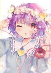 1girl, :o, arms up, blue shirt, blurry, blurry foreground, blush, bug, butterfly, butterfly on head, commentary, eyebrows visible through hair, flower, flower wreath, frilled sleeves, frills, hair between eyes, hair ornament, head wreath, heart, heart hair ornament, highres, insect, komeiji satori, long sleeves, looking up, one eye closed, pink eyes, pink flower, shirt, simple background, solo, standing, suzukkyu, third eye, touhou, upper body, white background