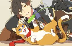 2boys, animal, animalization, bangs, black gloves, black hair, blue eyes, brown background, brown hair, cat, cattail, chisuke 1104, elbow rest, fang, genshin impact, gloves, gradient hair, hair between eyes, holding, jewelry, long sleeves, lying, multicolored hair, multiple boys, on side, open mouth, plant, red scarf, scarf, simple background, single earring, tartaglia (genshin impact), yellow eyes, zhongli (genshin impact)