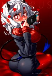 1girl, absurdres, ass, bangs, bed, black horns, black miniskirt, black suit, black tail, blush, breasts, commentary, covering mouth, demon girl, demon horns, demon tail, enmanuelart20, eyebrows visible through hair, from behind, game console, hair between eyes, handheld game console, hands up, heart, heart-shaped pupils, helltaker, highres, holding, holding handheld game console, horns, joy-con, large breasts, long sleeves, looking at viewer, looking back, miniskirt, modeus (helltaker), nintendo switch, on bed, pantyhose, red eyes, red legwear, red sweater, ribbed sweater, shirt, short hair, sidelocks, sitting, sitting on bed, solo, sweater, symbol-shaped pupils, tail, turtleneck, white hair