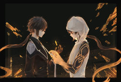 2boys, absurdres, alternate costume, arm tattoo, bangs, bare shoulders, black background, black gloves, brown hair, chinese commentary, clone, closed mouth, coat, collared shirt, commentary request, earrings, floating, floating object, floating rock, formal, from side, genshin impact, gloves, gnosis (genshin impact), gradient hair, highres, holding necktie, hood, hood up, hooded coat, jacket, jewelry, long hair, long sleeves, looking at another, male focus, multicolored hair, multiple boys, necktie, orange hair, ponytail, qiqi~, shirt, simple background, single earring, sleeveless, suit, tassel, tassel earrings, tattoo, thumb ring, white coat, yellow eyes, zhongli (genshin impact)