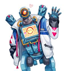1boy, apex legends, heart, humanoid robot, jacket, leaning to the side, looking at viewer, male focus, nashigawa, no humans, one-eyed, pathfinder (apex legends), red eyes, robot, science fiction, screen, solo, waving, white background, white jacket