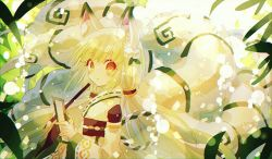 1girl, animal ear fluff, animal ears, bangs, blush, character request, closed mouth, detached sleeves, eyebrows visible through hair, fox ears, fox girl, fox tail, from side, hibi89, holding, holding paintbrush, holding paper, japanese clothes, lens flare, long hair, long sleeves, looking at viewer, looking to the side, merc storia, orange eyes, paintbrush, paper, solo, tail, very long hair, white hair, wide sleeves