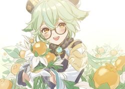 1girl, :d, animal ears, bangs, blush, cat ears, commentary request, dress, flower, genshin impact, glasses, gloves, green hair, hat, highres, holding, holding flower, looking at viewer, open mouth, rosa (hoshino), round eyewear, semi-rimless eyewear, short hair, simple background, smile, solo, sucrose (genshin impact), upper body, upper teeth, vision (genshin impact), white background, white dress, white gloves, white headwear, yellow flower