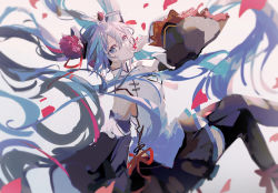 1girl, 39, absurdly long hair, aqua eyes, aqua hair, bare shoulders, black legwear, black skirt, black sleeves, china dress, chinese clothes, commentary, detached sleeves, dress, falling petals, floating, floating hair, flower, hair flower, hair ornament, hand to own mouth, hatsune miku, hatsune miku expo, headphones, holding, holding petal, layered sleeves, long hair, looking at viewer, mamenomoto, miniskirt, peony (flower), petals, pleated skirt, red flower, shirt, skirt, sleeveless, sleeveless shirt, solo, thighhighs, twintails, very long hair, vocaloid, white shirt, wide sleeves, zettai ryouiki