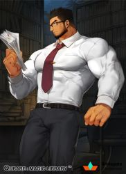 1boy, bara, beard, belt, black belt, black hair, bookshelf, bulge, character request, covered abs, facial hair, feet out of frame, formal, glasses, gomtang, grey pants, holding, large pectorals, library, looking at viewer, male cleavage, male focus, mature male, muscular, muscular male, necktie, official art, pants, qurare magic library, shirt, short hair, solo, white shirt