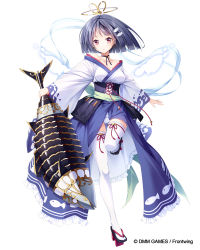 1girl, bangs, black footwear, black hair, breasts, character request, commentary request, dennou tenshi jibril, eyebrows visible through hair, fish hair ornament, frills, full body, geta, gluteal fold, hair ornament, holding, japanese clothes, kimono, kine-c, long sleeves, looking at viewer, medium breasts, official art, panties, parted lips, red eyes, short hair, simple background, solo, standing, standing on one leg, thighhighs, underwear, watermark, white background, white kimono, white legwear, white panties, wide sleeves