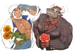 2boys, abs, aegir (tokyo houkago summoners), anchor earrings, animal ears, aqua hair, bara, beard, blue eyes, bouquet, brown fur, cow ears, cow horns, cropped torso, dark skin, dark-skinned male, earrings, eyewear on head, facial hair, flower, formal, from above, furry, goatee, grin, gyumao (tokyo houkago summoners), harada (basashi), holding, holding bouquet, horns, jewelry, large pectorals, looking at viewer, male cleavage, male focus, mature male, minotaur, mohawk, multicolored hair, multiple boys, muscular, muscular male, necktie between pecs, open clothes, open shirt, pectorals, red flower, red hair, short hair, sideburns, single earring, smile, stomach, streaked hair, striped jacket, striped suit, stubble, sunflower, tokyo houkago summoners, white background, white hair