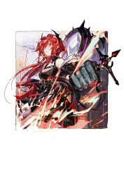 1girl, arknights, black dress, black jacket, border, breasts, chinese commentary, cleavage, commentary, cowboy shot, demon horns, disembodied limb, dress, fire, flaming sword, flaming weapon, hair between eyes, holding, holding sword, holding weapon, horns, jacket, long hair, looking at viewer, medium breasts, off-shoulder dress, off shoulder, open clothes, open jacket, outside border, pipidan, purple eyes, red hair, solo, spikes, strap, surtr (arknights), sword, symbol commentary, unzipped, watermark, weapon