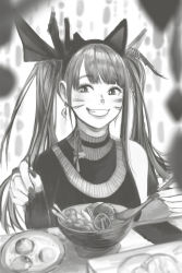 1girl, animal ears, azelweien, bare shoulders, blurry, blurry foreground, blush, bowl, choker, chopsticks, earrings, eyebrows visible through hair, facial mark, fake animal ears, fingernails, food, greyscale, highres, holding, holding chopsticks, jewelry, long fingernails, long hair, monochrome, original, parted lips, plate, smile, solo, table, teeth, turtleneck, twintails, whisker markings
