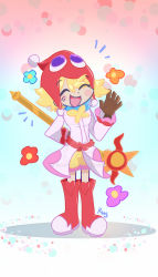 1girl, absurdres, amitie (puyopuyo), blonde hair, boots, cl4usy, coat, eyebrows visible through hair, eyes closed, eyes visible through hair, flower (symbol), full body, gloves, gradient, gradient background, hair between eyes, hat, highres, holding, holding staff, knee boots, long sleeves, open mouth, puyopuyo, puyopuyo fever, short hair, shorts, smile, staff, standing, yellow shorts