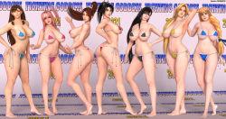 Rule 34 | 3d, 6+girls, absurdres, ass, bare legs, bare shoulders, barefoot, bikini, black hair, blonde hair, breasts, brown eyes, brown hair, capcom, chun-li, crossover, dead or alive, fatal fury, feet, final fantasy, final fantasy vii, hand on hip, hands behind head, helena douglas, highres, honoka (doa), huge ass, huge breasts, large breasts, long hair, looking at viewer, micro bikini, multiple girls, pink hair, ponytail, red eyes, shiranui mai, side ponytail, slender waist, smile, sophitia alexandra, soul calibur, street fighter, swimsuit, taki (soulcalibur), the king of fighters, the majestic, thick thighs, thighs, thong bikini, tifa lockhart, toes
