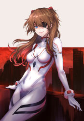 1girl, bodysuit, breasts, brown hair, covered navel, evangelion: 3.0+1.0 thrice upon a time, eyepatch, hairpods, highres, interface headset, long hair, neon genesis evangelion, pilot suit, plugsuit, re (re 09), rebuild of evangelion, small breasts, solo, soryu asuka langley, two side up, white bodysuit