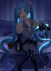1girl, apple, aqua eyes, aqua hair, aqua nails, aqua neckwear, arm support, backlighting, bare shoulders, black legwear, black skirt, black sleeves, blurry, blurry background, blush, bottle, can, collarbone, commentary, computer, curtains, detached sleeves, food, fruit, full body, grey shirt, hair ornament, half-closed eyes, hatsune miku, headphones, headset, highres, holding necktie, indoors, knees together feet apart, laptop, leaning forward, light particles, long hair, looking at viewer, miniskirt, nail polish, necktie, nokuhashi, open mouth, pleated skirt, removing, room, shirt, sitting, sitting on table, skirt, sleeveless, sleeveless shirt, smile, solo, table, thighhighs, trash can, twintails, very long hair, vocaloid, zettai ryouiki