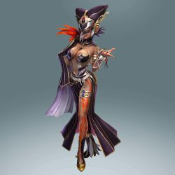 1girl, absurdres, bodypaint, breasts, cia (hyrule warriors), cleavage, dark skin, dark skinned female, dress, feathers, female focus, full body, gradient, gradient background, hat, highres, hyrule warriors, jewelry, large breasts, lots of jewelry, mask, nail polish, navel, nintendo, official art, side slit, solo, the legend of zelda, white hair, witch