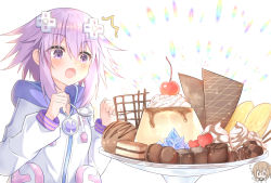 2girls, blanc, blush, breasts, brown hair, cherry, chibi, choujigen game neptune, clenched hand, d-pad, d-pad hair ornament, dress, food, fruit, gift, hair between eyes, hair ornament, heart, holding, holding spoon, hood, hooded jacket, ice cream, jacket, medium hair, multiple girls, neptune (neptune series), neptune (series), pudding, purple eyes, purple hair, ray 726, smile, solo focus, sparkling eyes, spoon, surprised, upper body, usb, valentine, whipped cream, white dress, white jacket, yuri