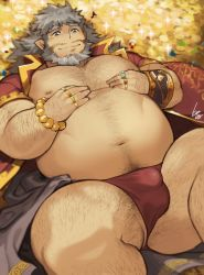 Rule 34   1boy, arm hair, bara, bare pecs, beard, belly, briefs, bulge, character request, check copyright, chest hair, coat, copyright request, facial hair, fat, fat man, feet out of frame, gold, gomtang, grey hair, hairy, leg hair, lying, male focus, male underwear, mature male, medium hair, multiple rings, muscular, muscular male, navel, navel hair, nipples, no pants, old, old man, on back, open clothes, open coat, pectorals, red coat, red male underwear, smile, solo, sparkle, stomach, thick thighs, thighs, tokyo houkago summoners, underwear