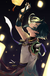 1boy, absurdres, arm tattoo, armor, bead necklace, beads, brown eyes, crying, crying with eyes open, detached sleeves, dragon print, genshin impact, gloves, green gloves, green hair, highres, jewelry, lantern, looking up, male focus, nakura hakuto, necklace, paper lantern, parted lips, pauldrons, shoulder armor, single pauldron, solo, tattoo, tears, xiao (genshin impact)