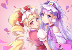 2girls, agura dou, aisaki emiru, bangs, blonde hair, blunt bangs, bow, cravat, cure amour, cure macherie, eyebrows visible through hair, hair bow, heart, highres, hugtto! precure, long hair, looking at viewer, magical girl, multiple girls, pink background, pink eyes, precure, purple bow, purple eyes, purple hair, purple neckwear, red bow, ruru amour, signature, simple background, twintails, upper body