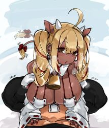 Rule 34   1boy, 1girl, absurdres, ahoge, animal ears, bangs, bell, blonde hair, breasts, brown eyes, cleavage, cow ears, cow girl, cow horns, cow tail, cowbell, dark skin, detached sleeves, heart, heavy breathing, highres, horns, large breasts, long hair, makeup, mascara, nail polish, nontraditional miko, original, red nails, tail, tail wagging, zanamaoria