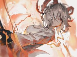 1girl, animal ears, arknights, black gloves, carnelian (arknights), cheonyeon-hi, dutch angle, fire, gloves, goat ears, goat girl, goat horns, hair over one eye, holding, horns, jacket, looking at viewer, red eyes, short hair, solo, upper body, white hair, white jacket