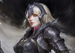 1girl, absurdres, armor, armored dress, bangs, banner, black background, black dress, blonde hair, cape, chainmail, chains, close-up, commentary, cross, daniel kamarudin, dark background, dress, english commentary, eyebrows behind hair, fate/grand order, fate (series), flag, fur-trimmed cape, fur collar, fur trim, glowing, glowing eyes, headpiece, highres, holding, holding staff, impossible clothes, jeanne d'arc (alter) (fate), jeanne d'arc (fate) (all), lips, looking at viewer, nose, orange eyes, parted lips, realistic, red lips, short hair, shoulder armor, silver hair, solo, spaulders, staff, standard bearer, yellow eyes