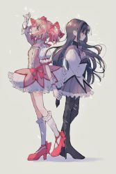 2girls, akemi homura, ankle ribbon, argyle, argyle legwear, arm at side, b0tan39, back-to-back, backlighting, black hair, black hairband, black legwear, blush, bubble skirt, capelet, choker, closed mouth, collarbone, cross-laced footwear, expressionless, flat chest, floating hair, frilled legwear, frilled skirt, frills, from side, full body, gloves, grey background, grey capelet, hair ribbon, hairband, half-closed eyes, hand on own chest, hand up, happy, highres, jitome, kaname madoka, knees together feet apart, lens flare, light blush, light smile, long hair, long sleeves, looking afar, mahou shoujo madoka magica, multiple girls, neck ribbon, nose blush, pink choker, pink footwear, pink hair, pink ribbon, pleated skirt, profile, puffy short sleeves, puffy sleeves, purple ribbon, purple skirt, ribbon, shadow, short sleeves, short twintails, simple background, skirt, socks, soul gem, standing, standing on one leg, tareme, twintails, white gloves, white legwear, white skirt