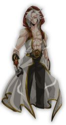 1boy, abs, bio lab, black gloves, black pants, champion (ragnarok online), championship belt, chen lio, coat, commentary request, facial scar, gloves, hair over one eye, hooded coat, looking at viewer, male focus, nipples, open clothes, open coat, pants, piyomaru029, ragnarok online, red eyes, scar, scar on cheek, scar on face, short hair, simple background, sleeveless coat, solo, two-tone gloves, white background, white coat, white gloves, white hair