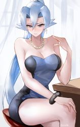 1girl, adapted costume, artist name, blue dress, blue hair, blush, bracelet, breasts, clair (pokemon), cleavage, cowboy shot, creatures (company), curtains, day, desk, dress, drop earrings, earrings, elbow rest, eyelashes, fingernails, flipped hair, game freak, hand on own knee, hand on own shoulder, high ponytail, highres, indoors, jewelry, large breasts, legs crossed, lips, long hair, necklace, nintendo, pearl necklace, pokemon, pokemon (game), pokemon hgss, sitting, solo, stool, strapless, strapless dress, tommy (kingdukeee), triangle earrings, tube dress, very long hair, window