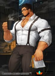 1boy, bara, beard, belt, black belt, black hair, bookshelf, brown pants, bulge, character request, chest hair, cigarette, covered abs, cup, facial hair, feet out of frame, glasses, gomtang, holding, holding cup, large pectorals, library, looking at viewer, male cleavage, male focus, mature male, muscular, muscular male, official art, pants, qurare magic library, shirt, short hair, smoking, solo, suspenders, white shirt