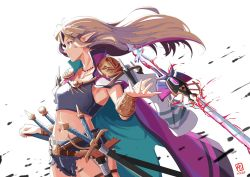 1girl, alternate costume, armor, automatic giraffe, bracelet, breasts, brown hair, cape, crop top, cutoffs, floating, floating object, floating sword, floating weapon, hand on hilt, jewelry, long hair, magic, navel, nintendo, pauldrons, pearl bracelet, pointy ears, popped collar, princess zelda, purple cape, rapier, red eyes, scabbard, serious, sheath, sheathed, shorts, shoulder armor, sidelighting, small breasts, solo, standing, sword, the legend of zelda, the legend of zelda: a link between worlds, too many, triforce, weapon, white background