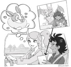 1girl, 2boys, absurdres, antenna hair, bad id, bad pixiv id, bare shoulders, charizard, clothing cutout, coat, creatures (company), dark skin, game freak, gen 1 pokemon, gen 8 pokemon, goh (pokemon), greyscale, highres, holding mug, leon (pokemon), long hair, long sleeves, looking at another, monochrome, multiple boys, nintendo, open mouth, pokemon, pokemon (anime), pokemon swsh043, pokemon swsh (anime), seatbelt, shirt, short hair, shoulder cutout, side ponytail, sonia (pokemon), steering wheel, thought bubble, twitter username, yamper