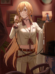 1girl, belt, blonde hair, brown belt, brown jacket, brown pants, brown suit, collarbone, eyebrows visible through hair, formal, girls frontline, hair ornament, hair ribbon, highres, holding, holding clothes, holding jacket, holding letter, holding phone, holster, jacket, jewelry, letter, long hair, looking away, navel, necklace, ots-14 (girls frontline), pants, phone, picture (object), ribbon, silayloe, simple background, solo, standing, star (symbol), star necklace, suit, yellow eyes