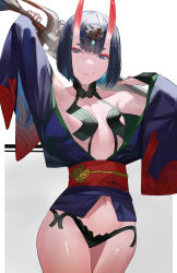 1girl, armpit crease, arms up, bangs, bare shoulders, blazpu, blunt bangs, bob cut, breasts, collarbone, commentary, cowboy shot, english commentary, eyeliner, fate/grand order, fate (series), grey background, headpiece, highres, holding, holding sword, holding weapon, horns, japanese clothes, kimono, looking at viewer, makeup, obi, oni, oni horns, open clothes, open kimono, purple eyes, purple hair, purple kimono, revealing clothes, sash, shadow, shiny, shiny hair, shiny skin, short eyebrows, short hair, short kimono, shuten douji (fate), simple background, skin-covered horns, small breasts, smile, solo, sword, thighs, weapon, wide sleeves