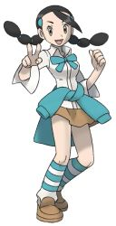 1girl, :d, black hair, breasts, brown eyes, candice (pokemon), clenched hand, clothes around waist, creatures (company), full body, game freak, gym leader, hair ornament, hairclip, long hair, multi-tied hair, nintendo, official art, open mouth, pokemon, pokemon (game), pokemon dppt, shirt, shoes, skirt, smile, solo, standing, striped, striped legwear, sugimori ken, sweater, sweater around waist, tongue, transparent background, twintails, v