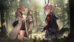 3girls, angelina (arknights), animal ears, arknights, bag, bangs, belt, black gloves, black hair, blue eyes, bow (weapon), breasts, brown hair, cloak, coat, denim, earthspirit (arknights), elbow gloves, fingerless gloves, forest, fox ears, fox girl, gloves, goat ears, goat girl, goat horns, green eyes, hair between eyes, hair ornament, hairband, hairclip, highres, holding, hood, hooded jacket, horns, horse ears, horse girl, horse tail, hug (yourhug), jacket, jeans, long hair, looking at viewer, meteor (arknights), multiple girls, nature, official art, open mouth, pants, plant, red eyes, scarf, shorts, smile, sweater, tail, tree, twintails, weapon