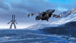 3d, armd, canopy, choujikuu yousai macross, cloud, energy cannon, flying, gunpod, helmet, highres, landing, lights, macross, macross: do you remember love?, mecha, missile, mountain, nuclear weapon, ortzak, pilot, pilot suit, realistic, roundel, sdf-1, signature, snow, space craft, taking off, u.n. spacy, variable fighter, vf-1, vf-1j