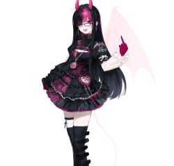 1girl, :d, absurdres, bag, belt boots, black dress, black hair, black legwear, boots, colored skin, copyright request, demon girl, demon horns, dress, eyepatch, frilled dress, frills, glasses, gothic lolita, handbag, heart, heart necklace, highres, horns, jewelry, latin cross, lolita fashion, long hair, long sleeves, looking at viewer, middle finger, multicolored, multicolored hair, multicolored skin, necklace, one eye covered, open mouth, oyabuli, pink-framed eyewear, pink eyes, pink hair, pink horns, pink skin, puffy short sleeves, puffy sleeves, short over long sleeves, short sleeves, slit pupils, smile, solo, standing, tail, thigh strap, thighhighs, two-tone hair, two-tone skin, wings