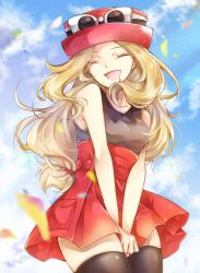 1girl, bare arms, blonde hair, blurry, breasts, brown legwear, cloud, commentary, creatures (company), day, eyelashes, eyes closed, eyewear on headwear, game freak, hands together, hat, highres, long hair, nintendo, open mouth, outdoors, pleated skirt, pokemon, pokemon (game), pokemon xy, red skirt, serena (pokemon), shirt, skirt, sky, sleeveless, sleeveless shirt, smile, solo, sunglasses, thighhighs, tongue, yomogi (black-elf),  d