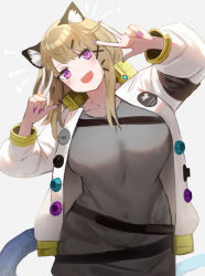 1girl, animal ear fluff, animal ears, arknights, blush, breasts, commentary, cowboy shot, double v, eyebrows visible through hair, fang, grey background, grey shirt, hair ornament, hairclip, head tilt, jacket, large breasts, light brown hair, looking at viewer, mannouyakunta, medium hair, nail polish, open clothes, open jacket, open mouth, purple eyes, purple nails, shirt, simple background, skin fang, smile, solo, tail, utage (arknights), v, white jacket, x hair ornament